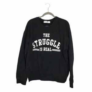 Wound Up The Struggle Is Real Black Crew Neck 3XL